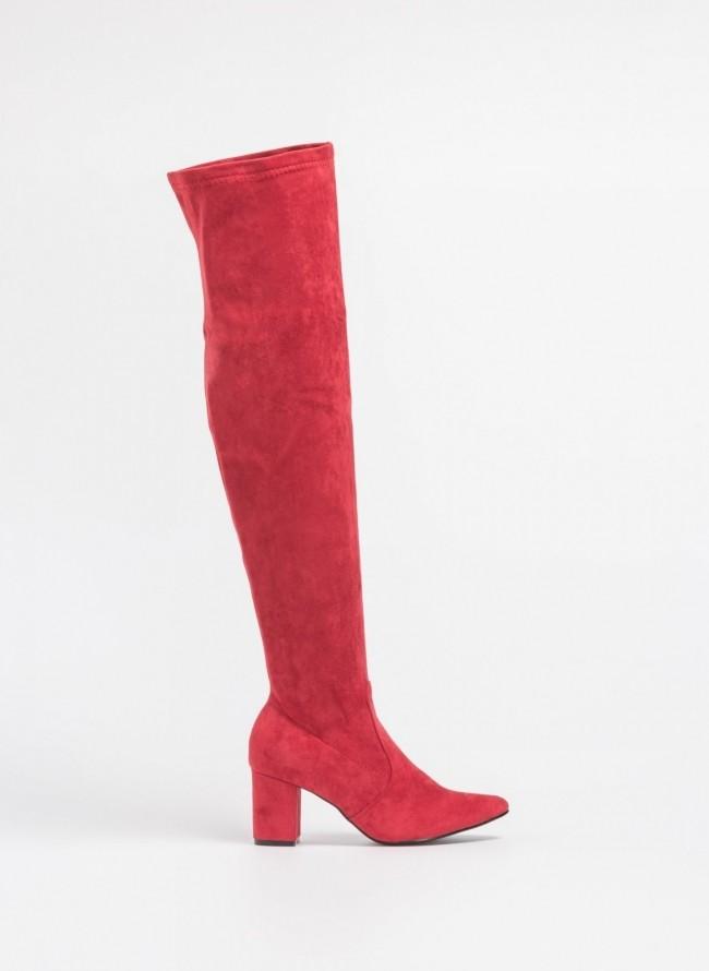 Suede over the knee μυτερές μπότες - Κόκκινο 7841819f086