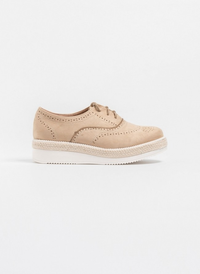 Suede oxfords με σχοινί στη σόλα - Μπεζ a94838dd4f2