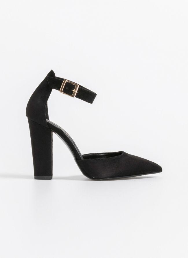 Suede παπούτσια με ανοιχτά πλαινά - Μαύρο