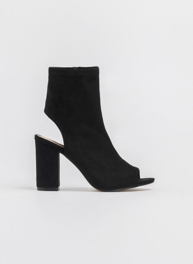 af8a0488020 Suede peep toe μποτάκια με ανοιχτή φτέρνα - Μαύρο