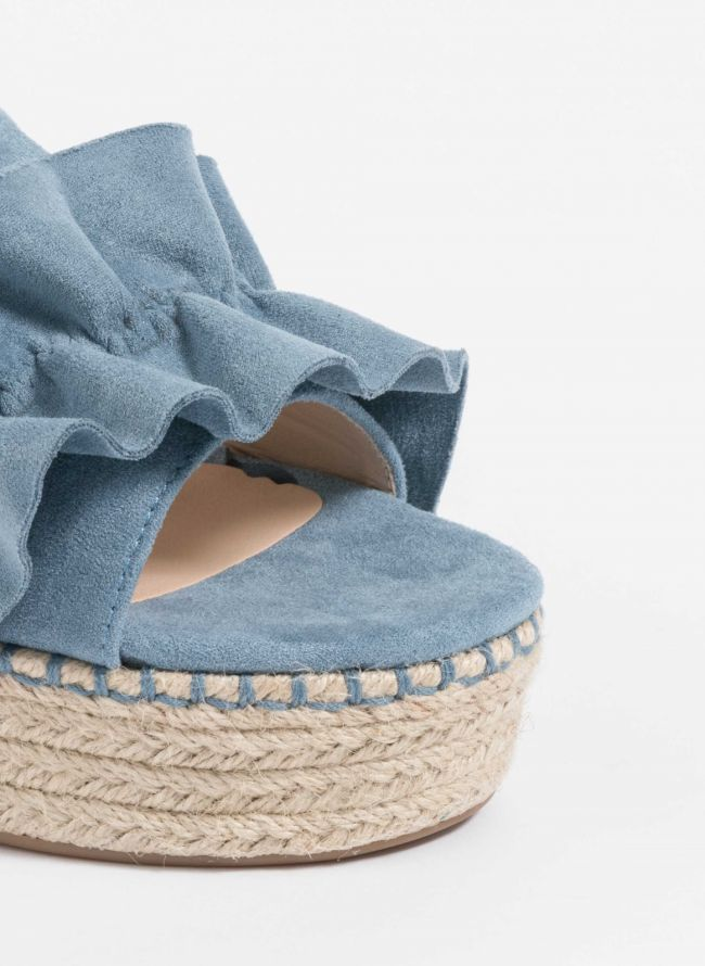 Suede ruffle flatforms  - Ραφ