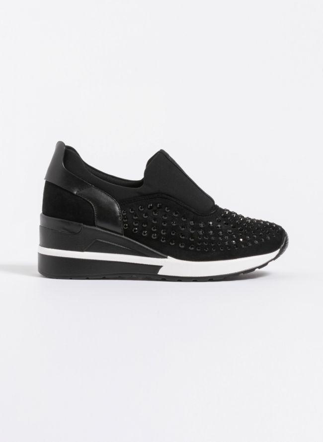 Suede slip on sneakers με τρουκς - Μαύρο