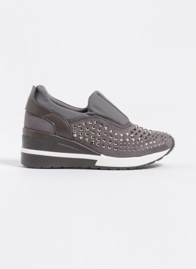 Suede slip on sneakers με τρουκς - Γκρι
