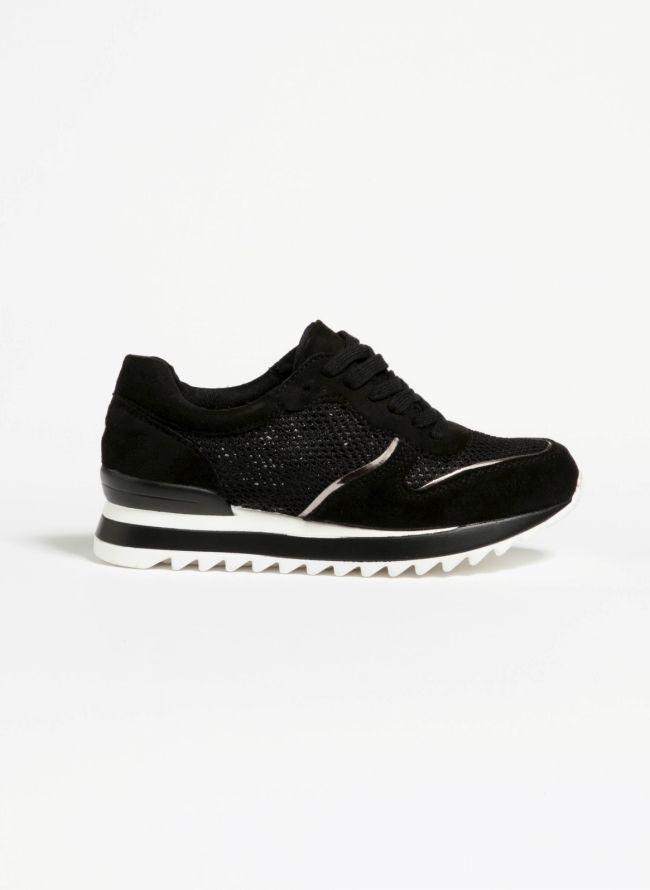 Suede sneakers - Μαύρο