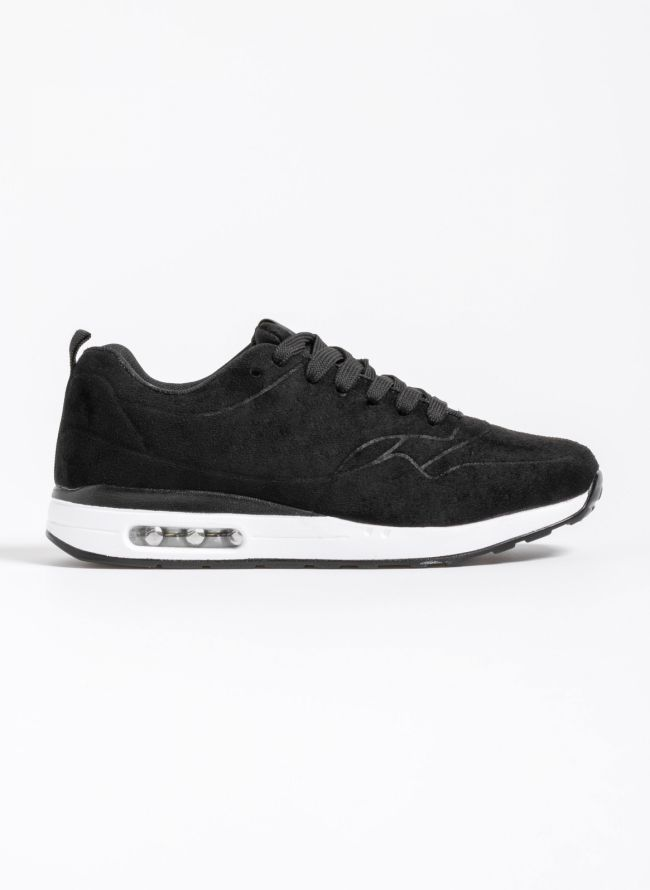 Suede αθλητικά παπούτσια με αερόσολα - Μαύρο
