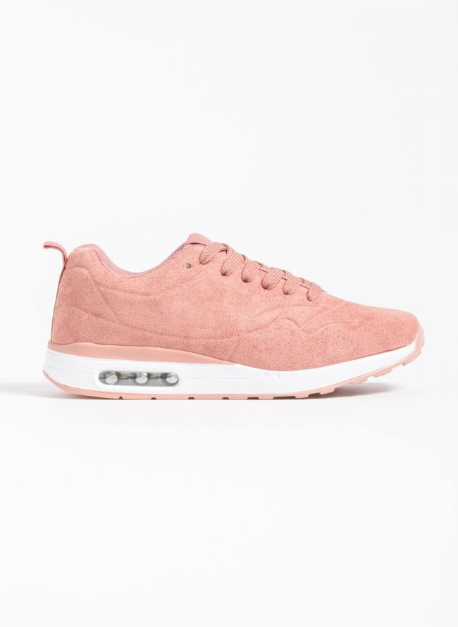Suede αθλητικά παπούτσια με αερόσολα - Ροζ