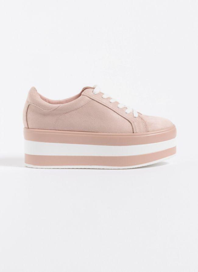 Suede sneakers με δίχρωμη ψηλή σόλα  - Μπεζ