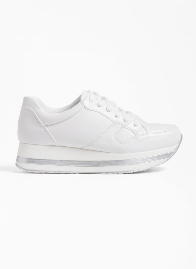 Sneakers με ρίγα στη σόλα - Λευκό