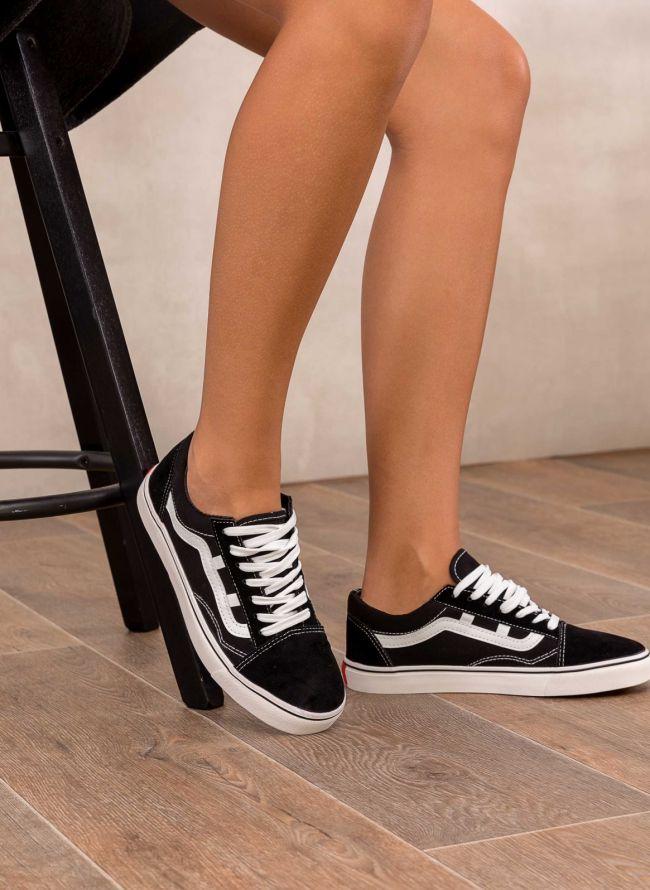 Suede sneakers με σχέδιο - Μαύρο