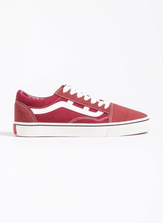 Suede sneakers με σχέδιο - Μπορντό