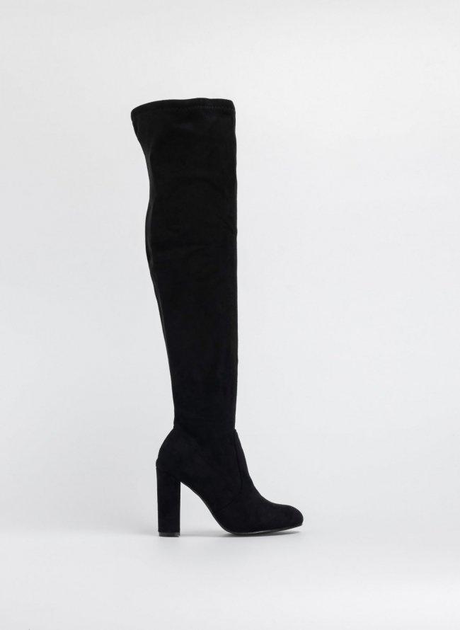 91b9a4f9af7 Suede στρογγυλές μπότες πάνω από το γόνατο - Μαύρο