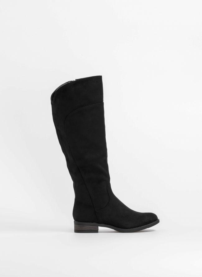 Suede στρογγυλές μπότες με ραφή - Μαύρο