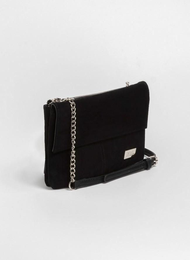 Suede χιαστί τσάντα με αλυσίδα - Μαύρο faf81ec4088