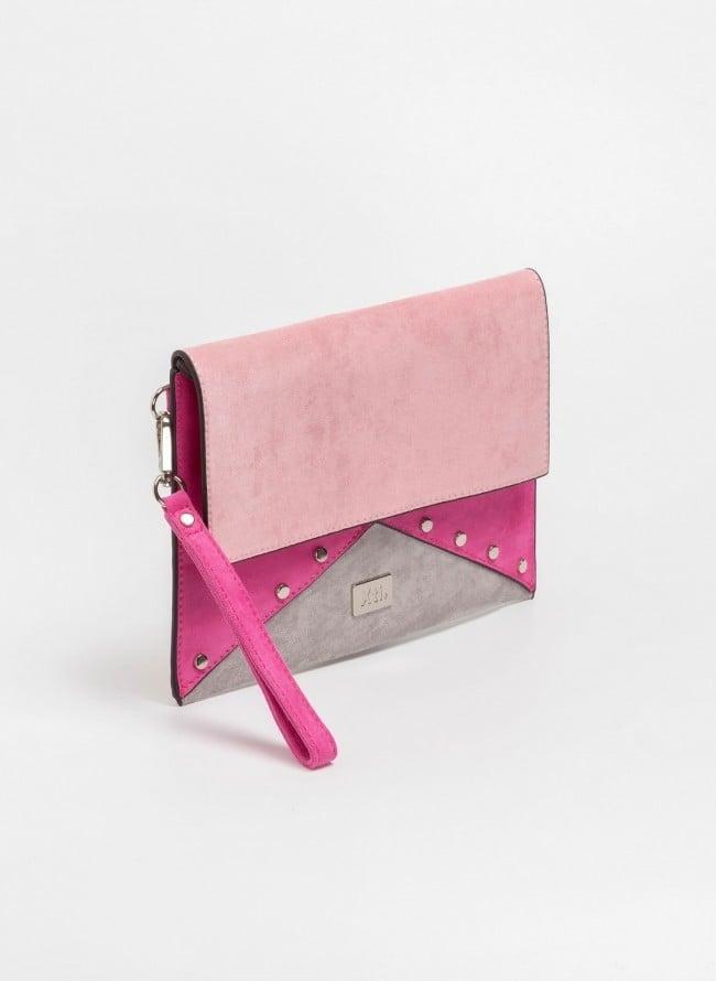 42ca4ed00a Suede χιαστί τσάντα με τρουκς - Φούξια