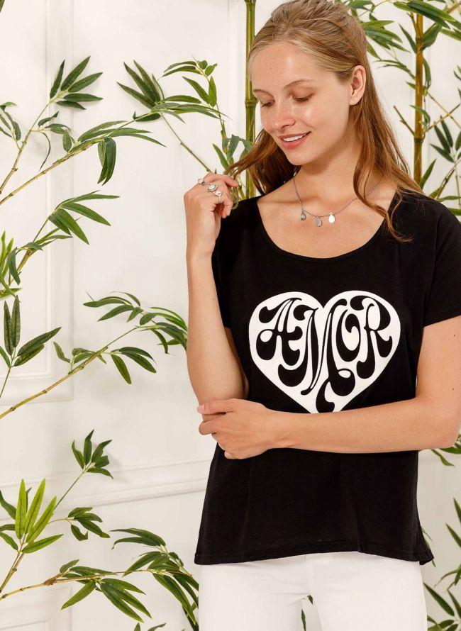 T-shirt Amor - Μαύρο