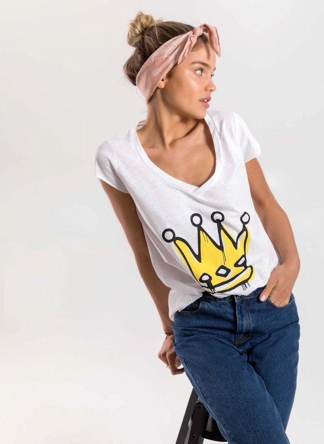 T-shirt με κορώνα - Λευκό