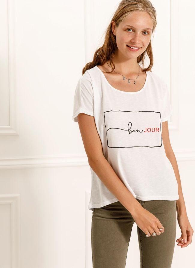 T-shirt με στάμπα Bonjour - Λευκό