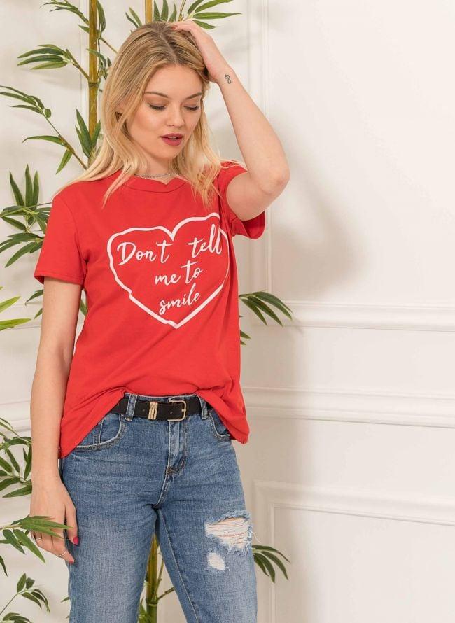 T-shirt με στάμπα - Κόκκινο