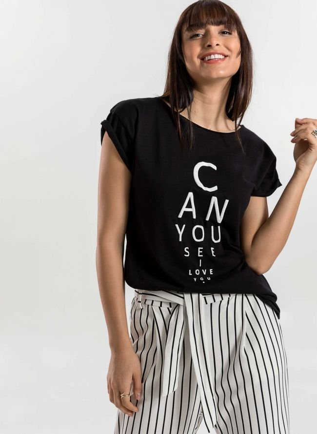 T-shirt με στάμπα CAN YOU SEE - Μαύρο