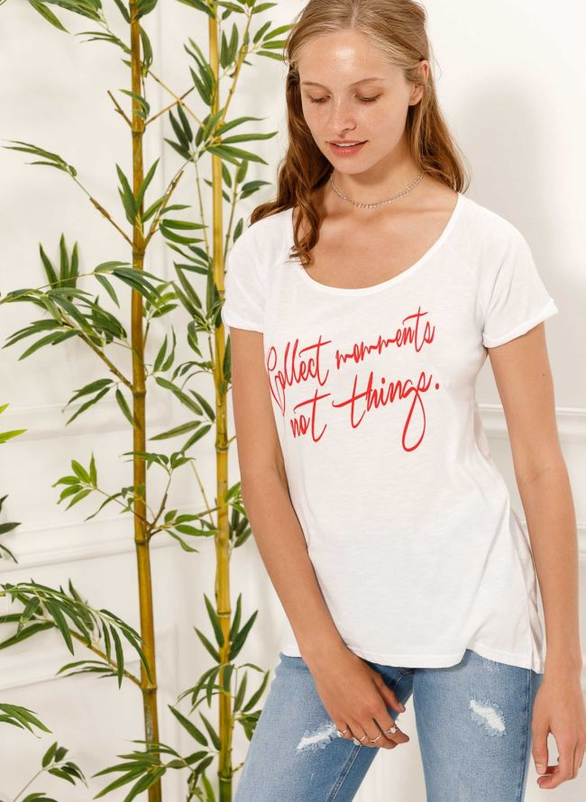 T-shirt με στάμπα Collect moments - Λευκό/Κόκκινο