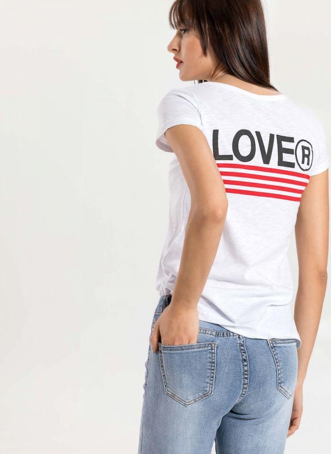 T-shirt με στάμπα LOVE στην πλάτη - Λευκό