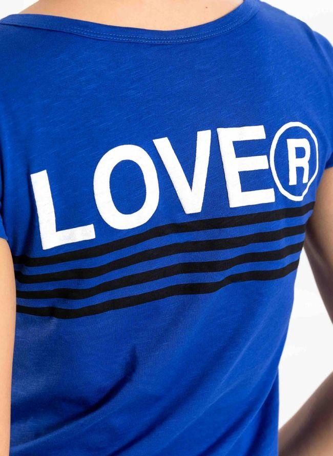 T-shirt με στάμπα LOVE στην πλάτη - Μπλε
