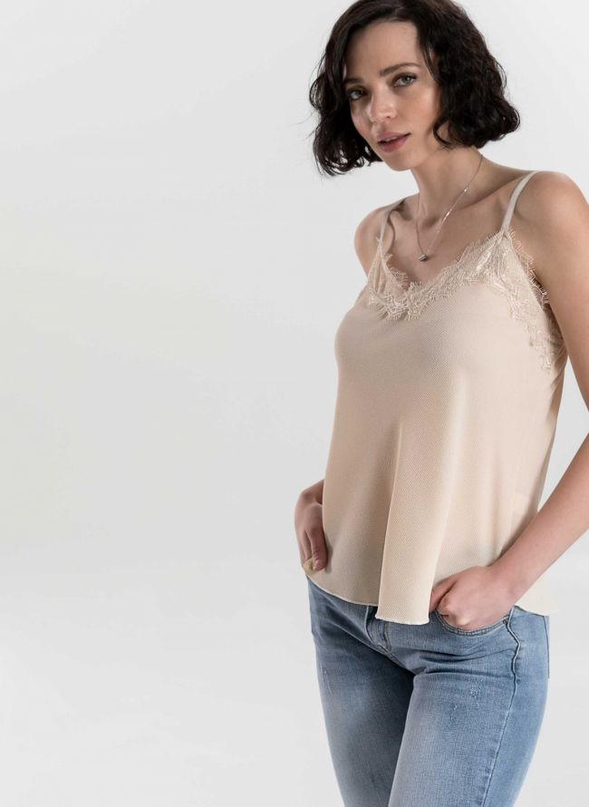 TOP ΜΕ ΔΑΝΤΕΛΑ - Πούδρα - TheFashionProject 38819abad94