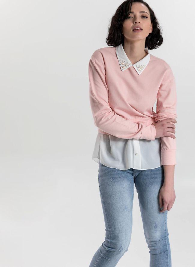 Top με διπλό ύφασμα και πέρλες στο γιακά - Ροζ