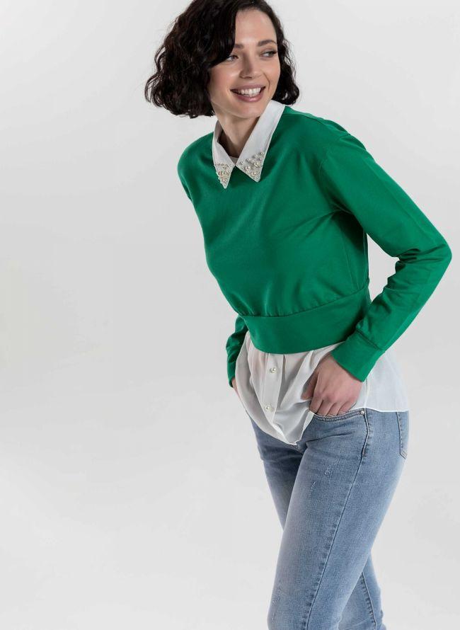 Top με διπλό ύφασμα και πέρλες στο γιακά - Πράσινο