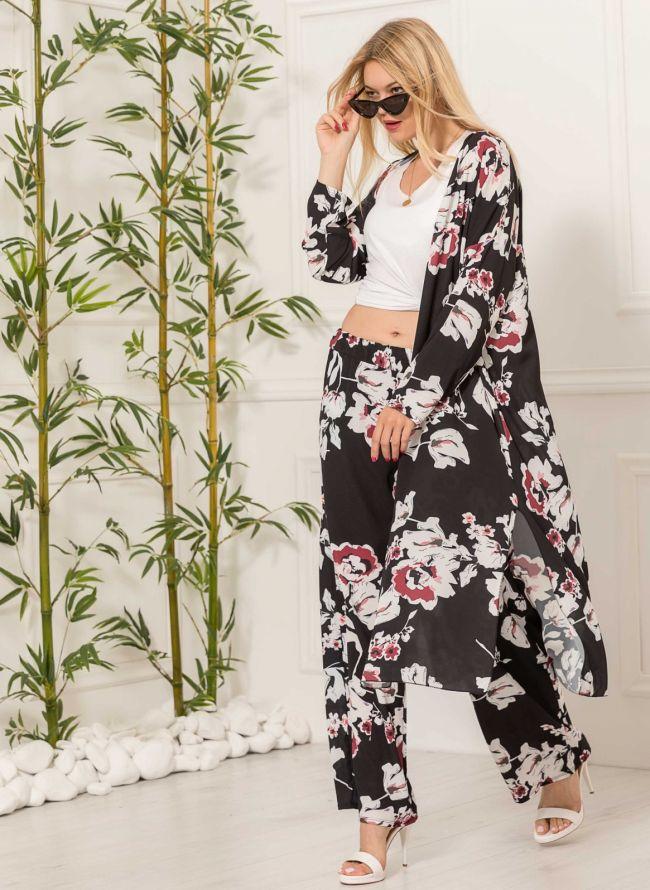 Τουνίκ με floral σχέδιο - Μαύρο