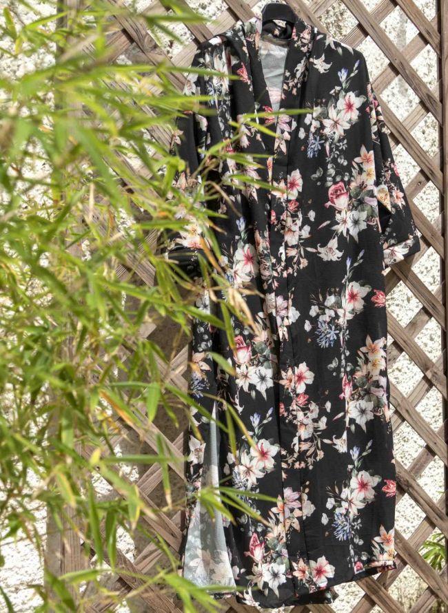 Τουνίκ με λουλούδια - Μαύρο