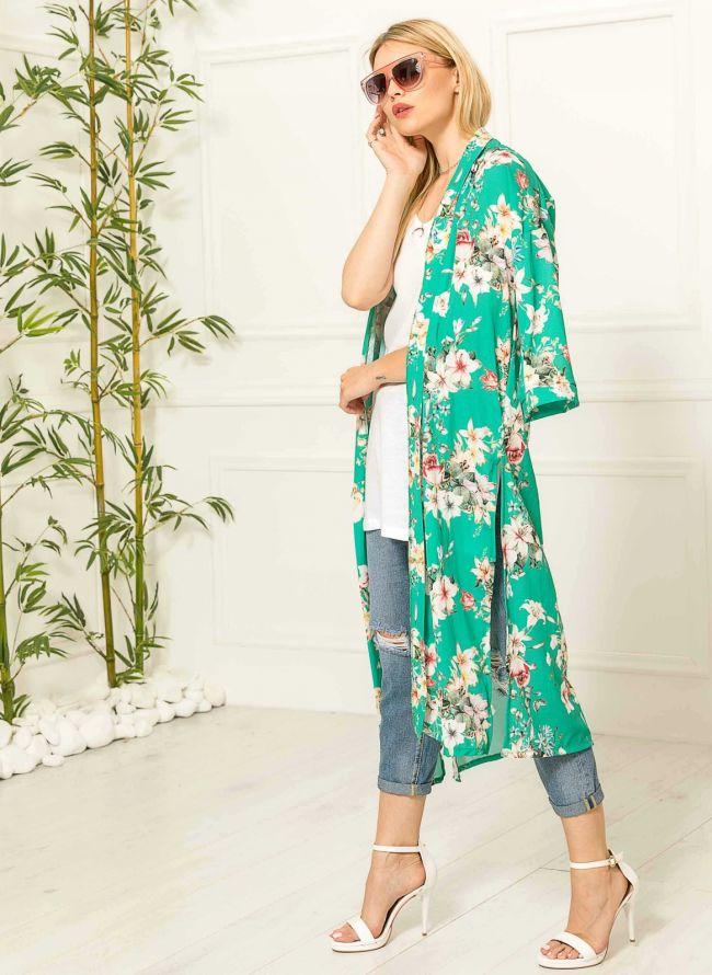 Τουνίκ με λουλούδια - Πράσινο