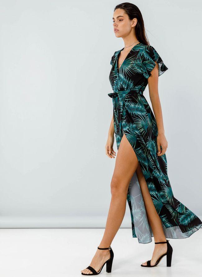 Tropical maxi φόρεμα με βολάν στα μανίκια - Μαύρο