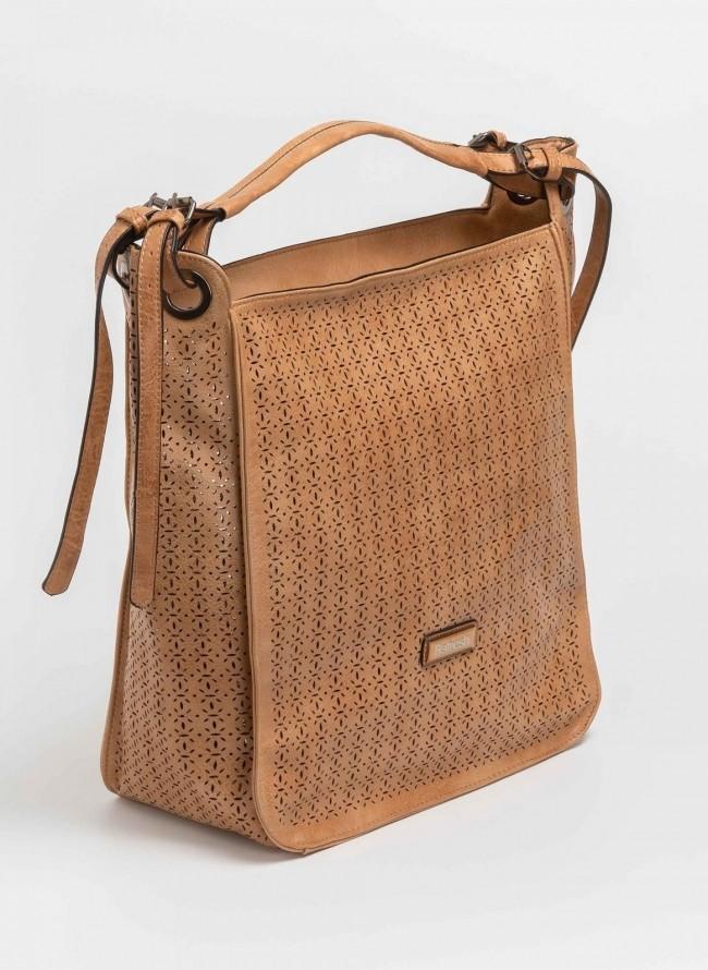 Τσάντα ώμου με laser cut σχέδιο - Κάμελ 0891dc04dfb