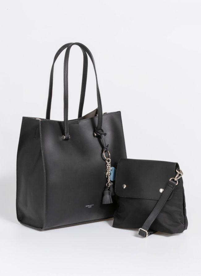 Τσάντα ώμου σε minimal γραμμή - Μαύρο
