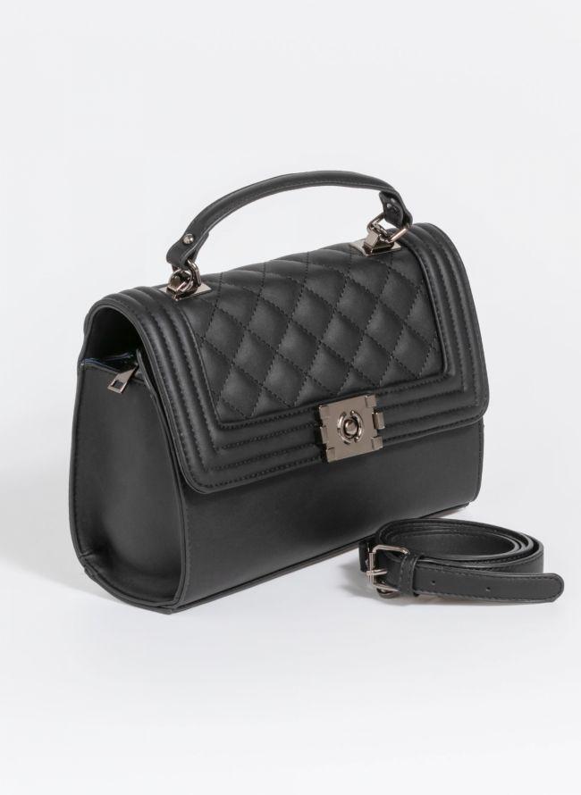 Τσάντα χειρός με καπιτονέ καπάκι - Μαύρο