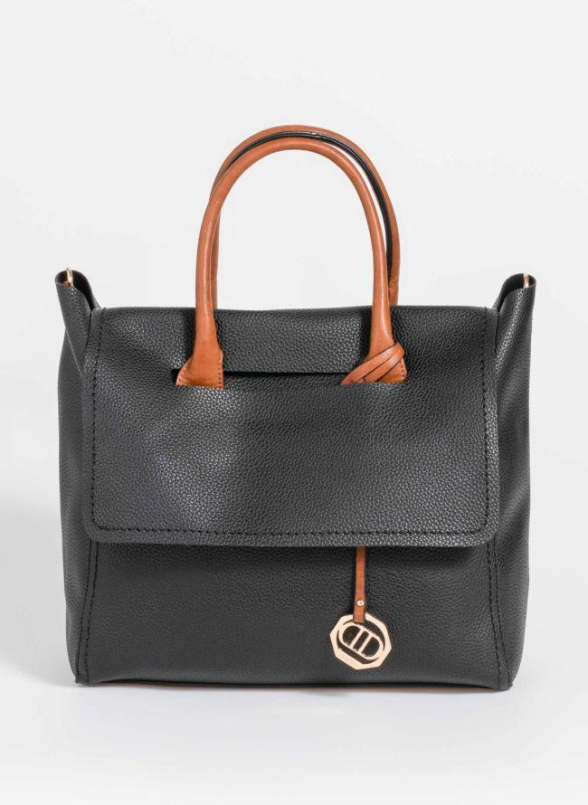 Τσάντα χειρός με μαλακό καπάκι - Μαύρο