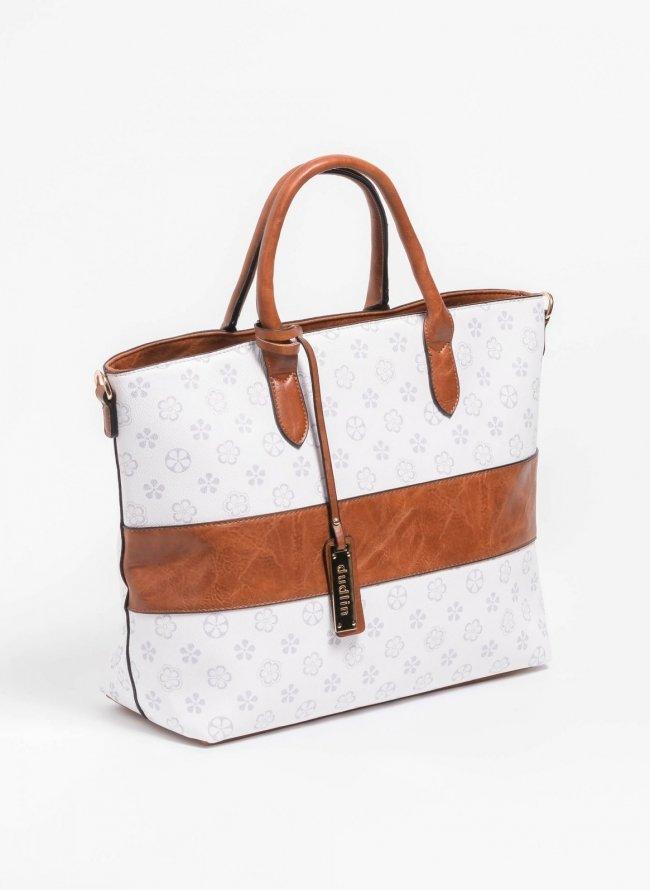 7992c27dde Τσάντα χειρός με pattern και φάσα δερματίνη - Λευκό