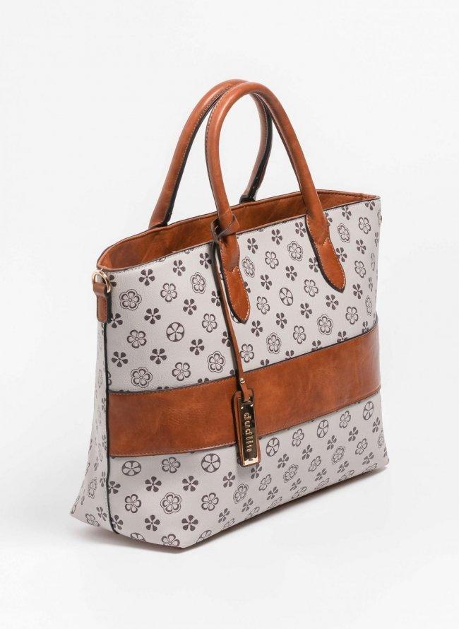 Τσάντα χειρός με pattern και φάσα δερματίνη - Πούρο e47bc0cefe8