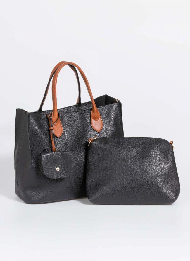 Τσάντα χειρός με πορτοφολάκι - Μαύρο