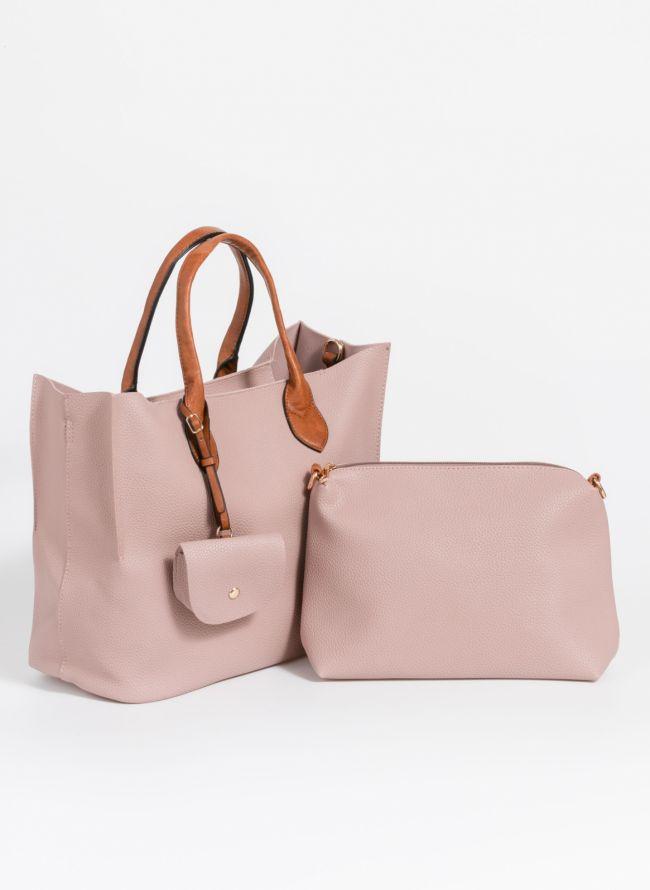 Τσάντα χειρός με πορτοφολάκι - Nude
