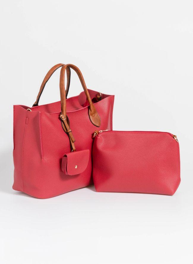 Τσάντα χειρός με πορτοφολάκι - Κόκκινο