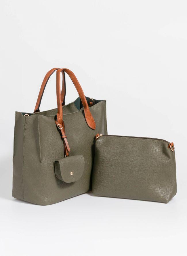Τσάντα χειρός με πορτοφολάκι - Χακί