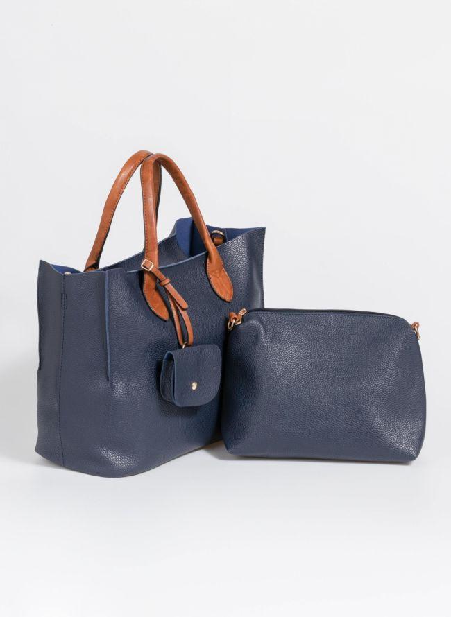 Τσάντα χειρός με πορτοφολάκι - Μπλε σκούρο