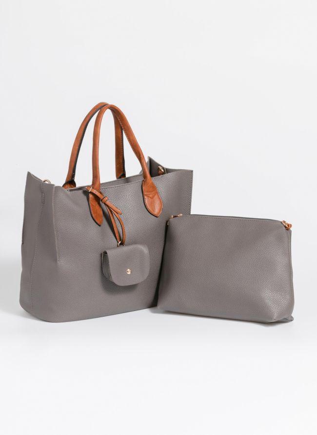 Τσάντα χειρός με πορτοφολάκι - Ανθρακί
