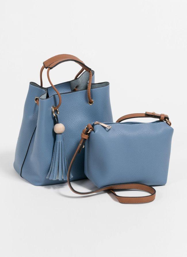Τσάντα χειρός σε σχήμα πουγκί με charm με κρόσσια - Ραφ