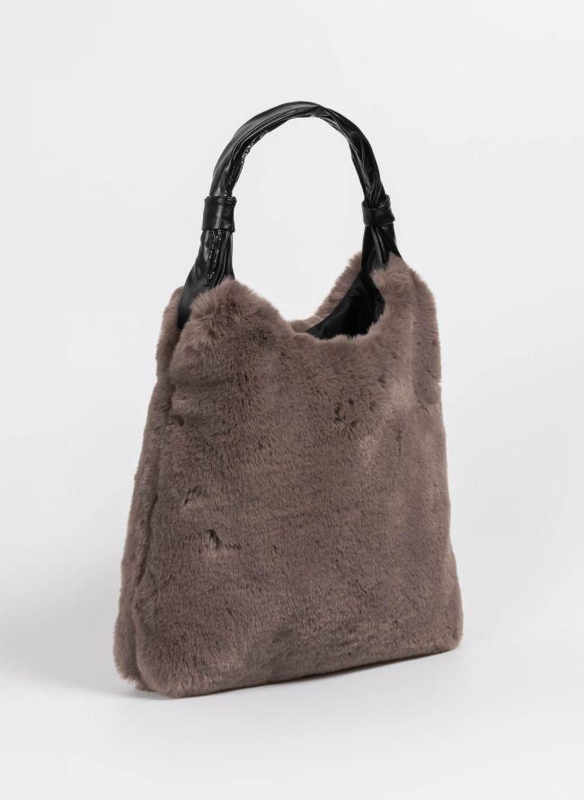 Τσάντα χιαστί από οικολογική γούνα - Πούρο - TheFashionProject 7c92e233897
