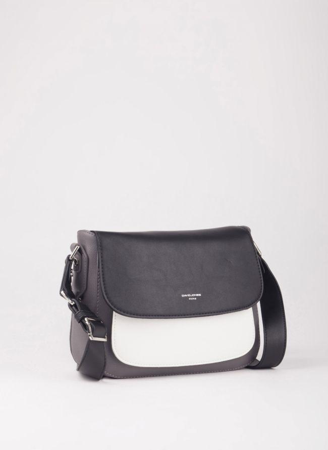 Τσάντα χιαστί με καπάκι - Γκρι
