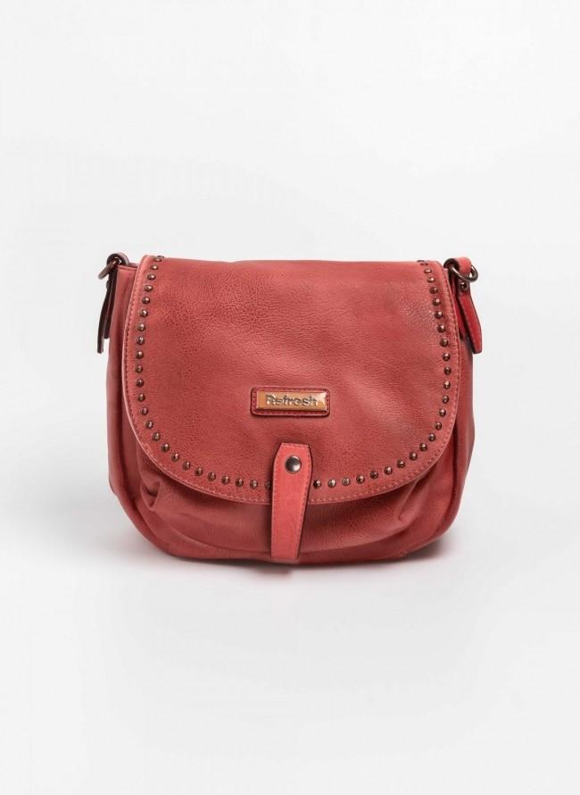 66808b41241 Τσάντα χιαστί με καπάκι και τρουκς 83183 - Κόκκινο