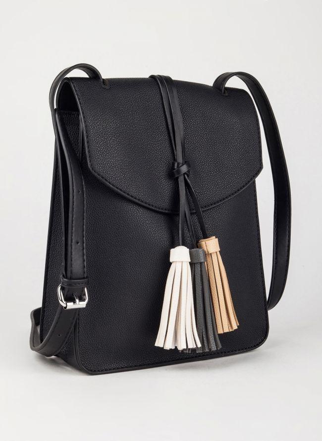 Τσάντα χιαστί με κρόσσια - Μαύρο